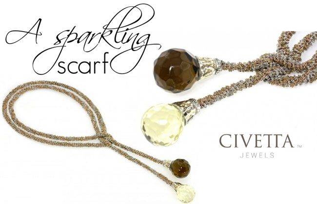 Collana Sciarpa is a soft #silver wrap, heated by lemon and cognac quartz at the tips. Let it hang elegantly around your neck, or knot it for a stylish scarf effect. Also available with baroque pearls http://www.civettajewels.it/store/it/home/58-collana-sciarpa-in-maglia-oro-e-argento-zangara.html#