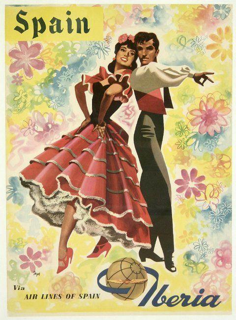 Spain, Iberia via Airlines of Spain - Vintage Travel Poster