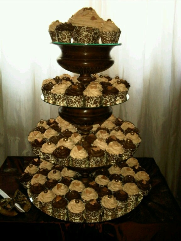 Bronze and gold cupcake tower