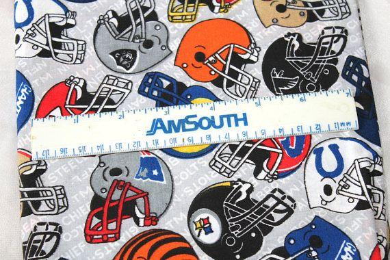 NFL Football Helmets Fabric Multicolored Helmets on Gray