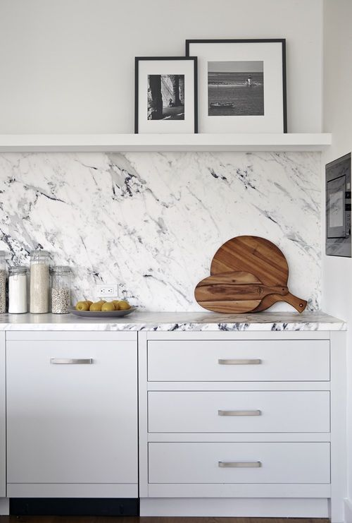 floating shelf + solid backsplash