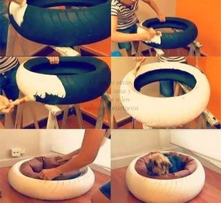 DIY dog bed from an old tire (selfmade.over-blog.com)