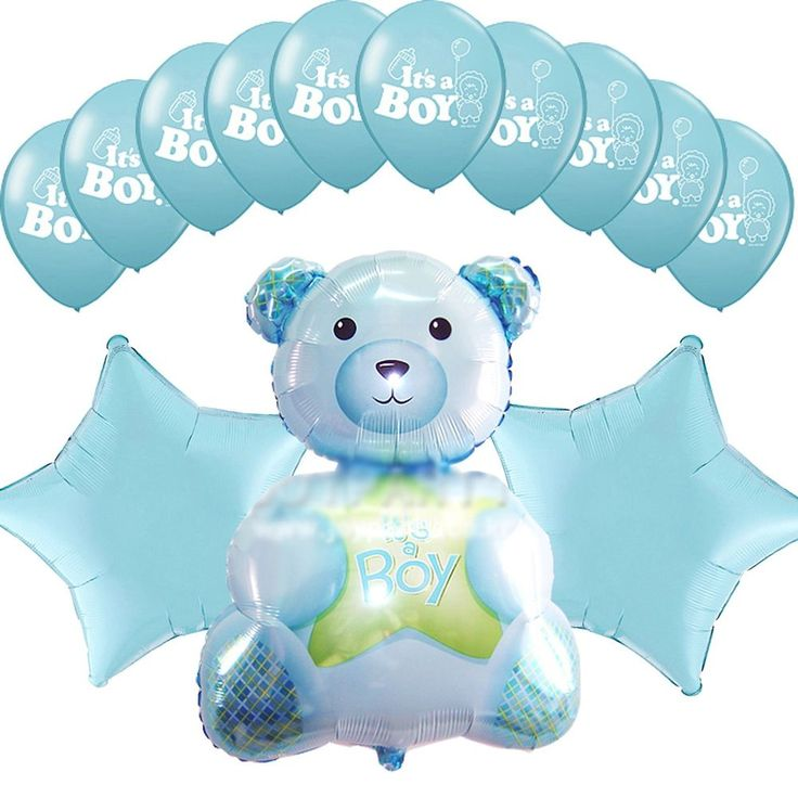 Baby Shower Party Supplies Blue Star Foil Balloons Bouquet It's a Boy Teddy bear #Anagram #BabyShower