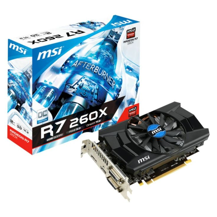 MSI AMD Radeon R7 260X OC: PCI-Express x16 3.0, GDDR5 2GB, 128-Bit, GPU:1175MHz / Mem:6500MHz, DVI x2, HDMI x1, DisplayPort x1, DirectX 11.2Dual Slot ATX, Propeller Blade Technology, All Solid Capacitors, MSI Afterburner, AMD Eyefinity, AMD CrossfireX Support : Graphics Card - Graphics Cards - Video Card - Video Cards