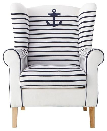 Anchors Away with nautical stripes!- This would make an amazing reading chair!