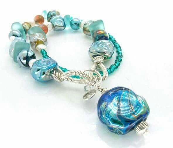 Hollow bead silver glass with silver wire  and beads