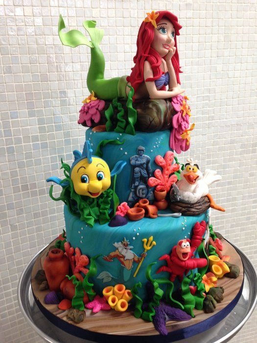 675 best images about disney cakes on pinterest mickey for Ariel cake decoration