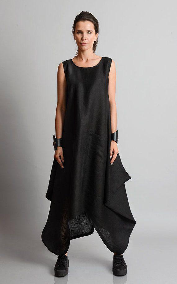 b88f8d72ebe NEW Black Maxi Dress Plus Size Linen Dress Asymmetric Black Kaftan Linen  Maxi Dress Sleeveless Loose Dress Oversize Black Dress Summer Dress