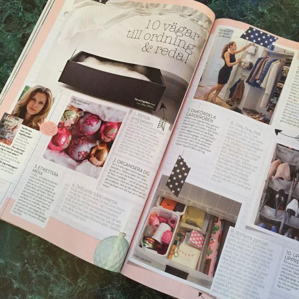 """I senaste numret av Aftonbladets Härligt Hemma(nr 39 2015)kan man bland annat läsa om 10 vägar till ordning och reda. Det är mina tips som Härligt Hemma har plockat och sammanställt från """"Förvara Smart - organisera ditt hem""""."""