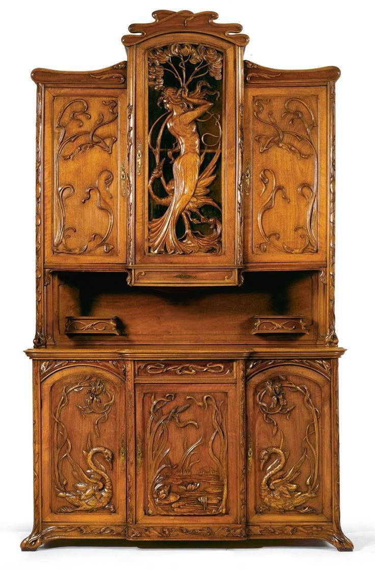 Rare original beech stained chair by eugene gaillard circa 1900 at - An Art Nouveau Carved Walnut Buffet A Deux Corps France Or Belgium Circa 1910