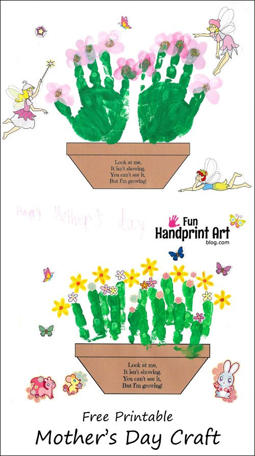 {Free Printable} Mother's Day Poem & Handprint Flower Pot Craft