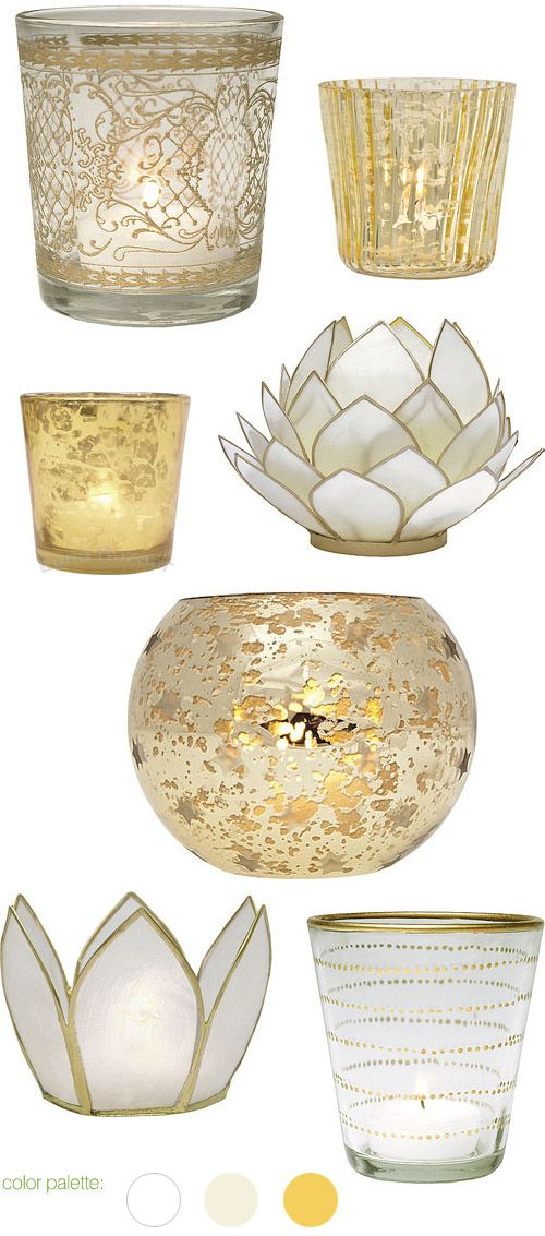 I love these white, cream and gold candle holders from LunaBazaar.com, for weddings, home or gifts | via junebugweddings.com