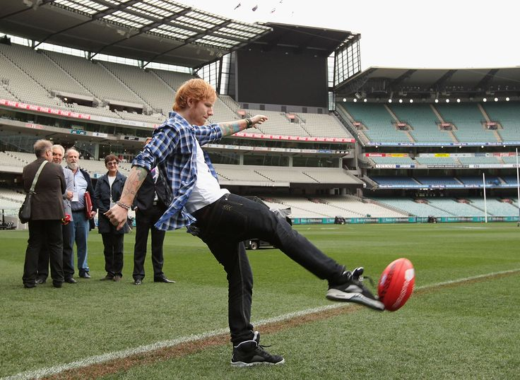 """"""" (HQ) Ed Sheeran doing press ahead of the AFL Grand Final at Melbourne Cricket Ground on September 25, 2014 in Melbourne, Australia. """""""