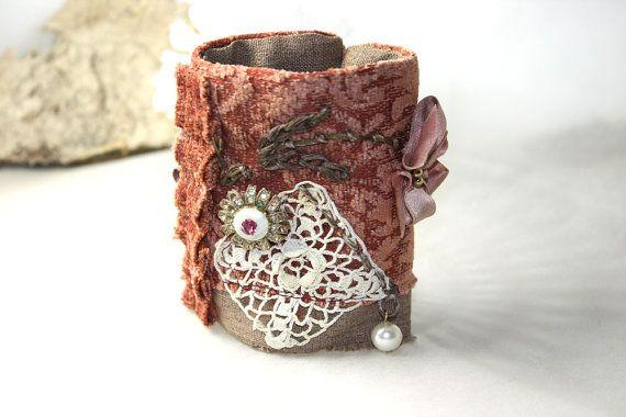Victorian Fabric Textile Wrist Cuff Bracelet Vintage by Waterrose