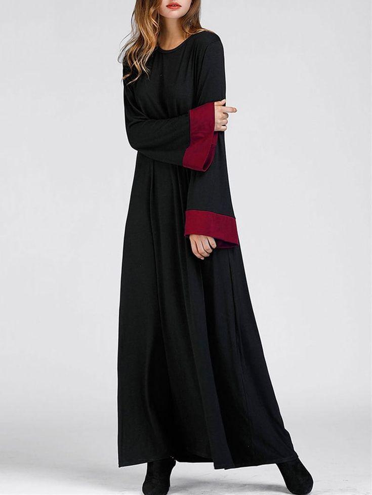 Color Block Bell Sleeve Maxi Arabic Dress - BLACK S