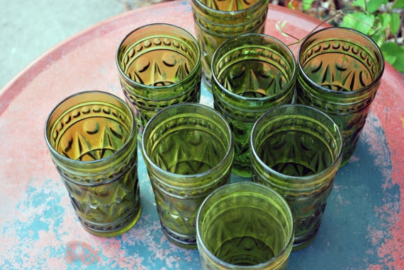 emerald green drinking glasses