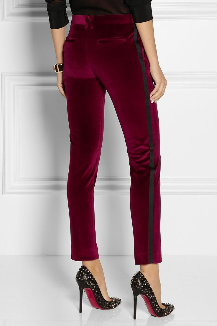 Satin trimmed tuxedo pants in a rich burgandy. A very sexy evening look.