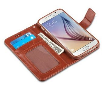 Built-in stand for horizontal media view Folio Style Wallet Case: 3 card slots for carrying  ID, credit cards and 1 side slot for cash Precise cutouts for complete access to all ports,  buttons, cameras, speakers, and mics. Ideal for a person who loves to carry everything on his wallet. #GalaxyS6 #Wallet Case