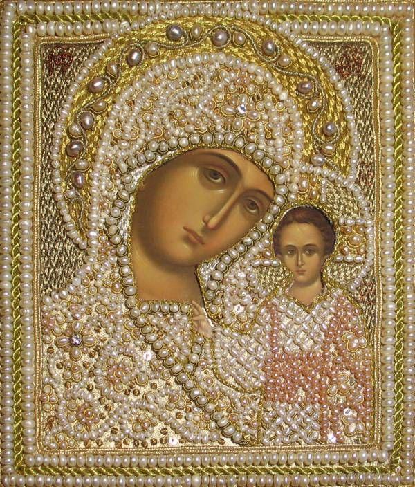 икона Божией Матери Казанская в жемчужной ризе | Золотошвейная мастерская «Убрус»