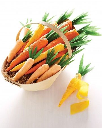 Crepe Paper Carrots -- Unwind them to find a gift inside (for kiddies, or guests at your Easter Dinner).