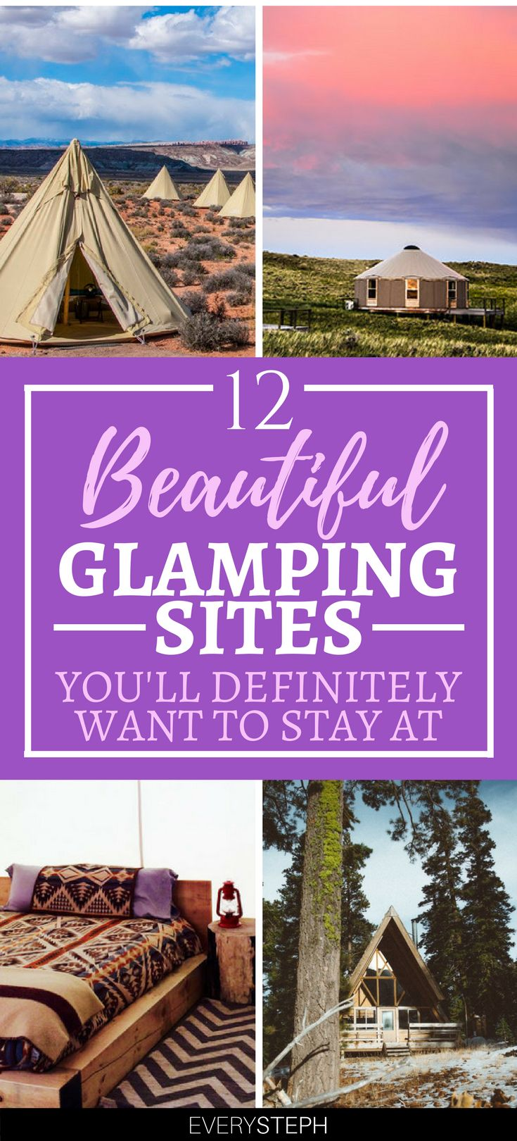 Raise your hand if you love glamping! If you did, then you are going to love the 12 best places to fo glamping in the USA! | where to go glamping | glamping sites luxury | glamping sites in California | glamping New York | glamping US | glamping destinations California | glamping destinations luxury camping | glamping Florida | glamping Utah | glamping California #glamping - via @everysteph