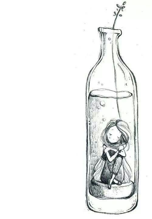 i love the idea of this. trapped in a bottle Pencil drawing