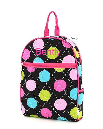 Personalized Kids Backpack in Bright Polka Dots by PoshyKids, $26.00