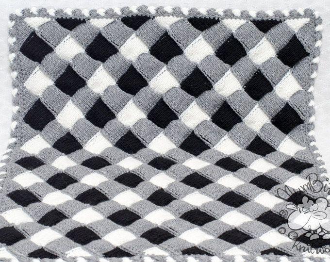 Zwart-wit deken, gebreide baby deken, brei beddengoed, huisdier deken, foto prop, klaar voor schip