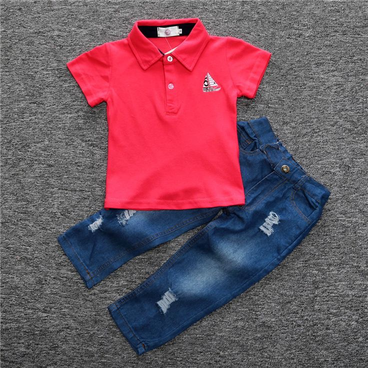 Boys Jeans Set red Polo t shirt + Jeans Pants Children 2017 Autumn Clothing Kids Set outfits vetement garcon For 1 2 3 4 5 6 Yrs. Yesterday's price: US $20.24 (16.44 EUR). Today's price: US $14.57 (11.84 EUR). Discount: 28%.