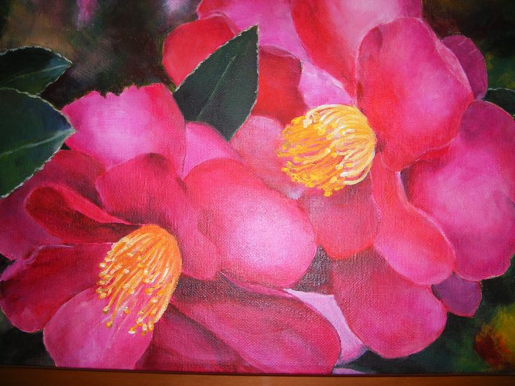 When I need to get away from yarn I like to paint in acrylics. I love the colors in this picture.   Camellia Kanjiro.
