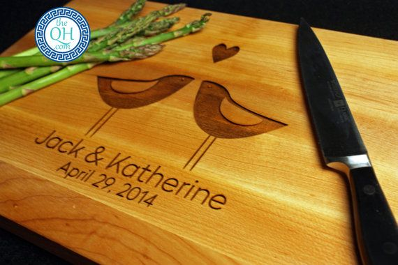 Personalized Cutting Board BOOS w/ Custom Engraved Partridge Love Birds Heart Couple's Names Wedding Anniversary Bridal Couple Shower Gift