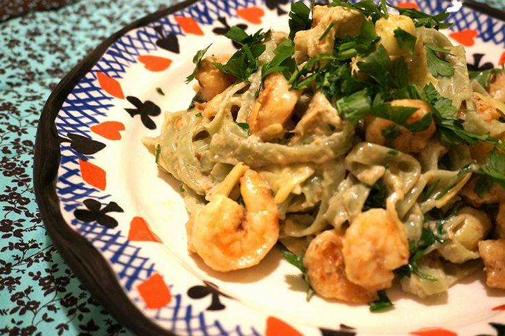 massa com camarão e alcachofras | Francinha Cooks