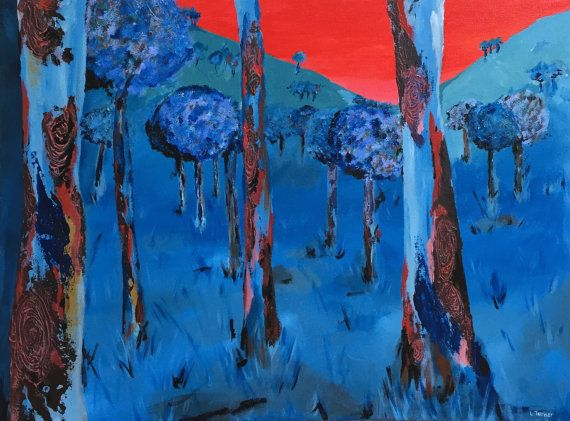 Australian Bush Landscape Painting, Abstract, Original, Acrylic on Canvas, Australian Artist, Ready to Hang