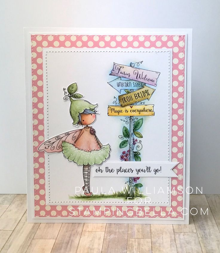 Stamping Bella SUMMER 2017 RELEASE- RUBBER STAMP : TINY TOWNIE fairy garden fairy and fairy signT. Card by Paula Williamson