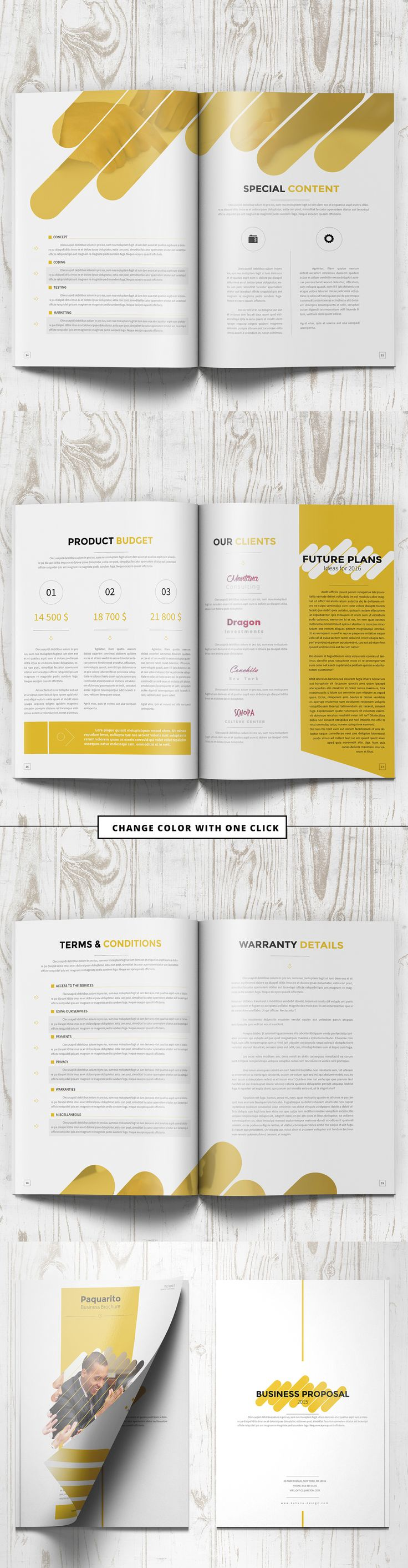 Business Proposal Catalog / Brochure Template 2 sizes: A4 and US Letter Adobe InDesign Projects, 4 InDesign files (CS6 + CS4), You can create your own brochure color with few clicks – instruction included, 20 pages, CMYK – 300dpi, Print Ready. Pro…