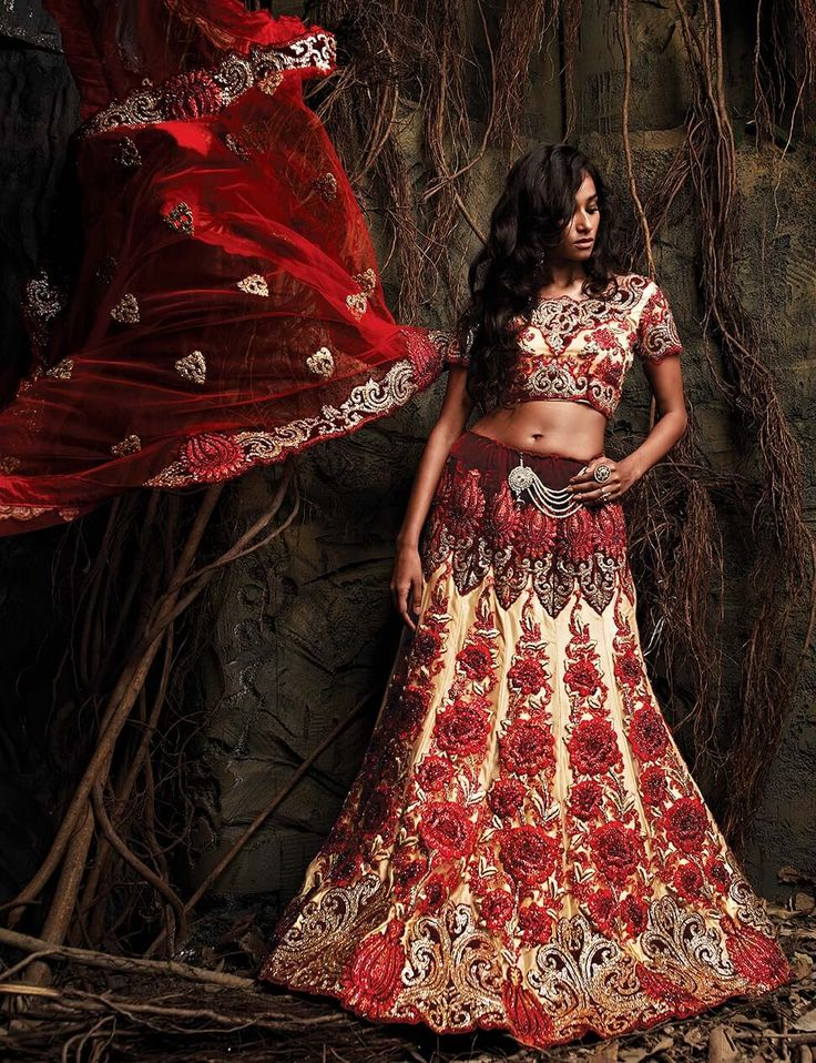 Net and velvet bridal lehenga choli in classic combination of Red and Chiku. This elegant piece comes with heavy embroidery, floral pattern, cut work and all over smaller motifs.