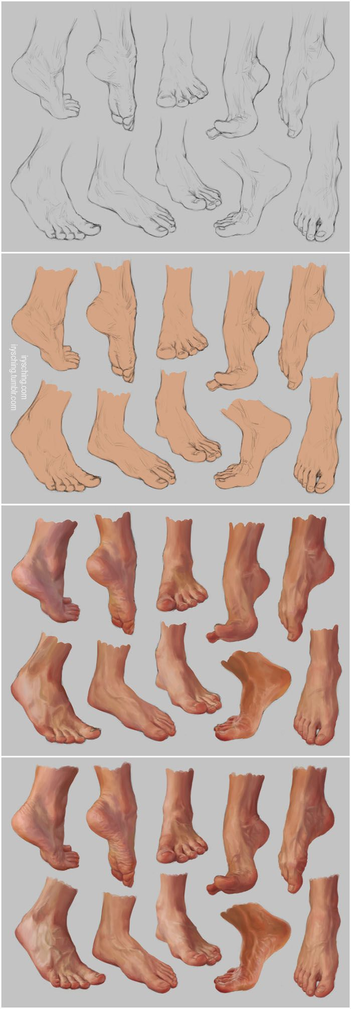 Very complete, step-by-step instructions on how to draw & color feet - including adding shoes