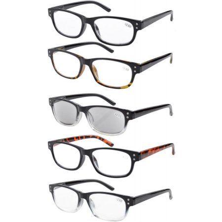 5-Pack Spring-loaded Hinges Vintage Reading Glasses Includes Sun Readers +2.75