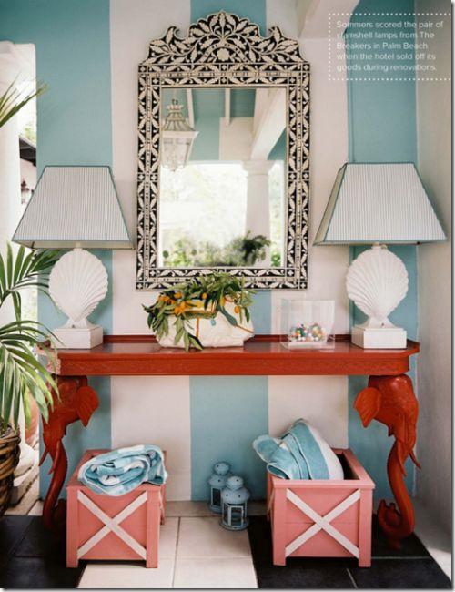entryway stripes...hmmmm. // so pretty!: Decor, Mirror, Interior, Beach House, Idea, Color, Entryway, Room