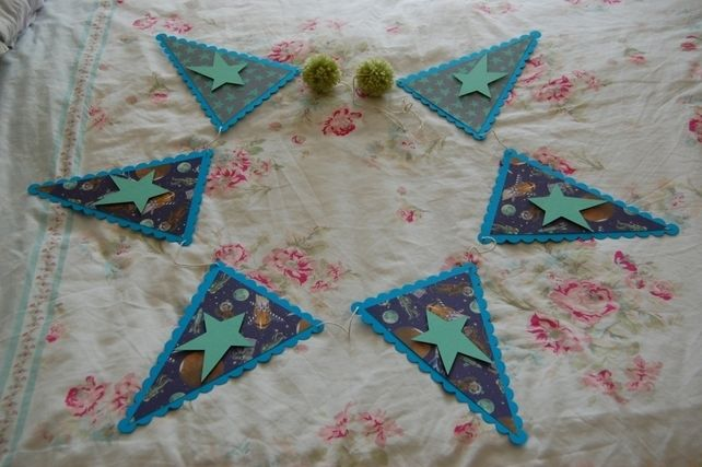 Handmade Personalised Bunting Space themed, Stars, Robots and Astronauts. Kids £5.99