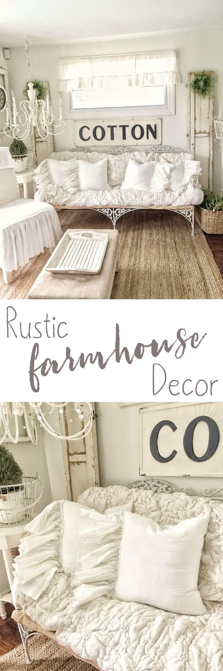 Cute shabby chic rustic farmhouse decor! This would be perfect for a living room or entryway. Any rustic farmhouse decor is just so perfect! #affiliate #farmhousestyle #rusticdecor #shabbychic #homestyle