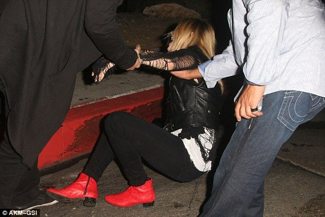 Whoops: Actress Mischa Barton took a tumble after leaving Chateau Marmont in West Hollywood on Friday