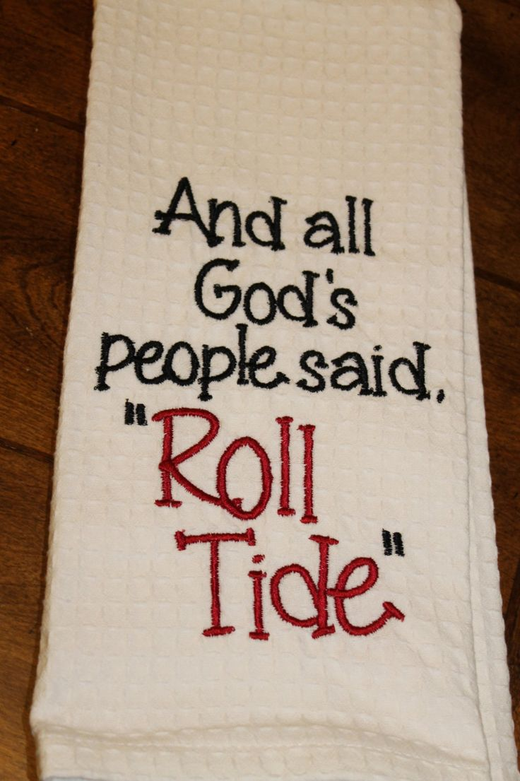 One University of Alabama monogrammed/appliqued kitchen towel/dish cloth-tailgating-shower-hostess gift-Roll Tide--Crimson and White by annabeesdesign on Etsy https://www.etsy.com/listing/168765103/one-university-of-alabama