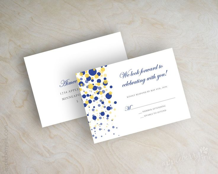 Image of Glitter Blue Yellow Wedding Invitations