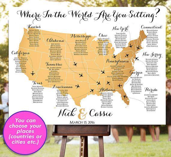 Hochzeit-Diagramm  RUSH-SERVICE  Gold USA Welt von HappyBlueCat