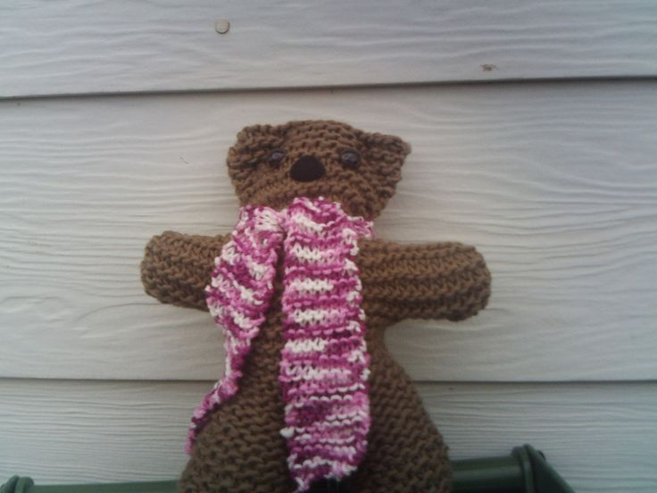 handknitted teddy bear by Bevshandmadecrafts on Etsy