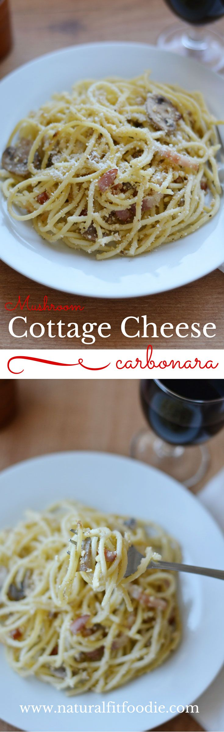 Mushroom Cottage Cheese Carbonara is a healthy remake of the traditional classic.