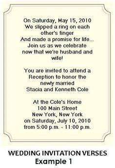 Wording For Wedding Reception Invitations (for Verbiage)