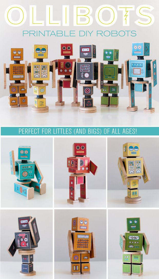 6 printable DIY Robots–perfect for presents! The magnets or velcro connectors make it so fun for kids to play and interact with them! (at caravanshoppe.com)