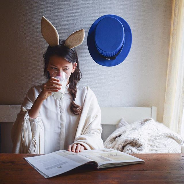 "While all the Halloween monsters are out the Easter bunny sits at home and drinks a glass of milk. ""Let the ghosts and scary things handle this one, my hats stays on the wall"". #WHPpretend"
